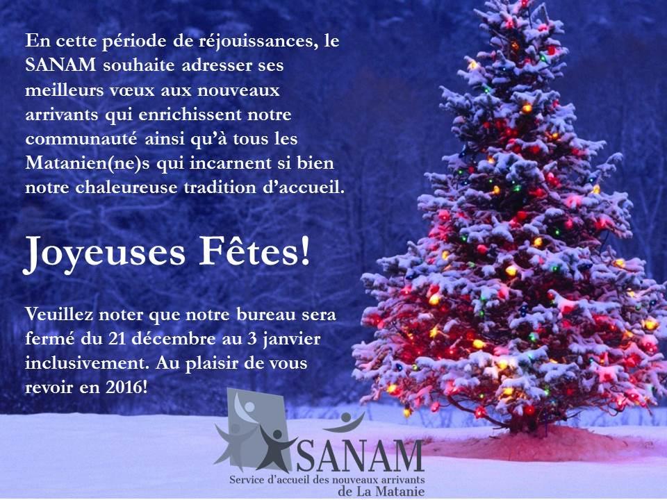 Message des Fêtes 2015-2016